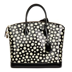 Louis Vuitton Black Vernis Leather Dots Infinity Yayoi Kusama Lockit MM
