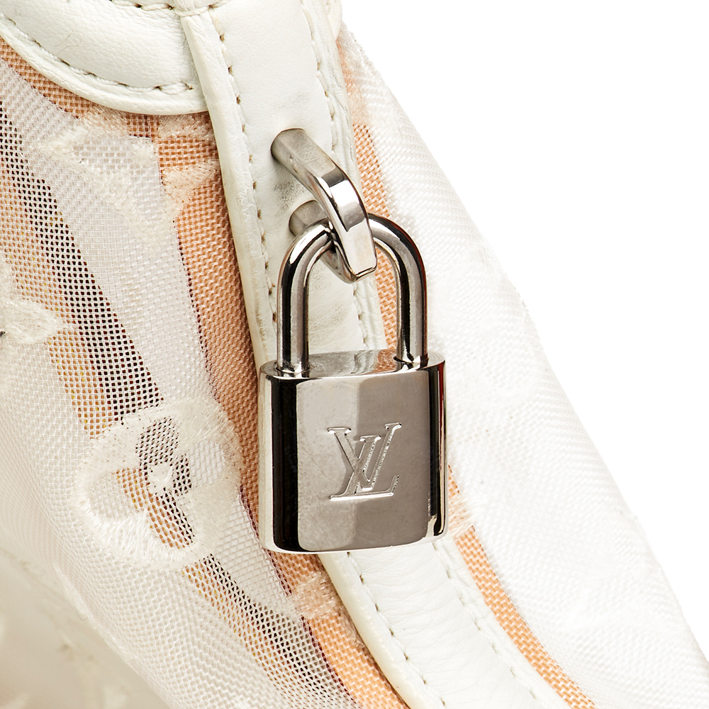 38002a226c Louis Vuitton White Monogram Transparence Nylon & Calfskin Leather Lockit