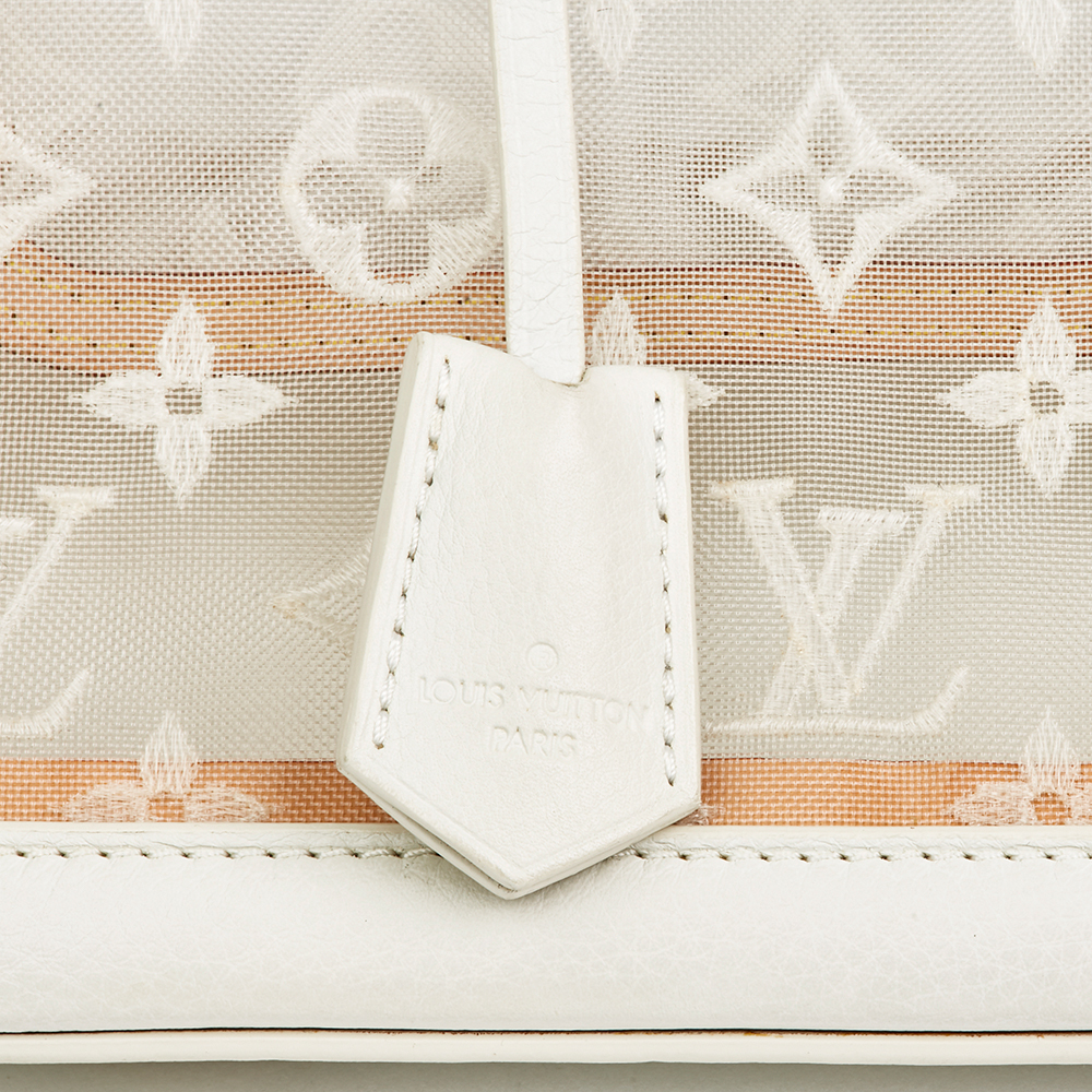 d8a09596de6de Louis Vuitton White Monogram Transparence Nylon   Calfskin Leather Lockit