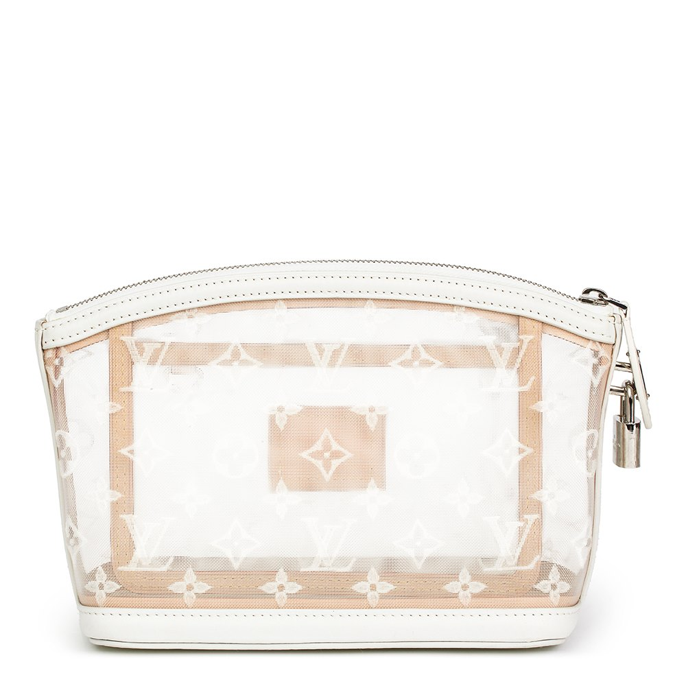 fa2c06c1a6697 Louis Vuitton White Monogram Transparence Nylon   Calfskin Leather Lockit  Clutch