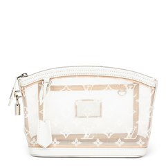Louis Vuitton White Monogram Transparence Nylon & Calfskin Leather Lockit Clutch