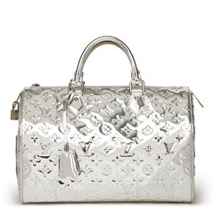 Louis Vuitton Silver Monogram Miroir Vinyl Speedy 35