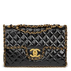 Chanel Black Quilted Vinyl Chain Around Vintage Maxi Jumbo XL Flap Bag