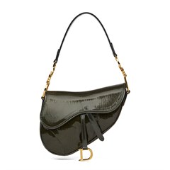Christian Dior Olive Green Monogram Patent Leather Mini Saddle Bag