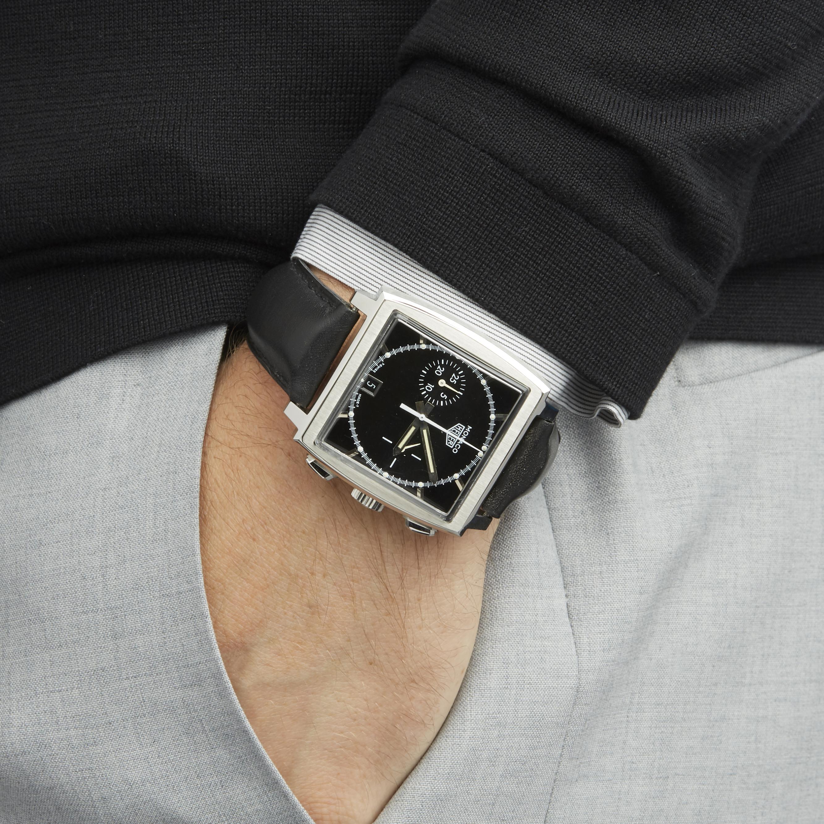 Tag Heuer Monaco Stainless Steel Watch Cs2110 Com1721 Ebay Space Leather