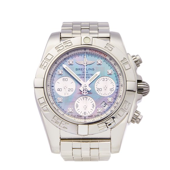 Breitling Chronomat Mother of Pearl Diamond Chronograph Stainless Steel - AB014012/G712