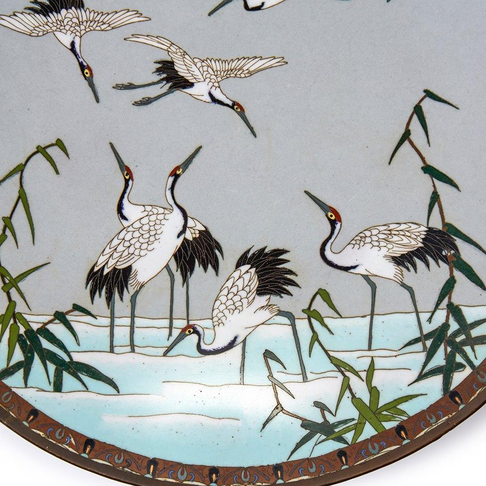 ANTIQUE JAPANESE MEIJI CLOISONNE BIRD PLAQUE 19TH C. Meiji 1868 - 1912