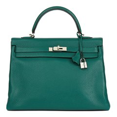 Hermès Malachite Clemence Leather Kelly 35cm Retourne