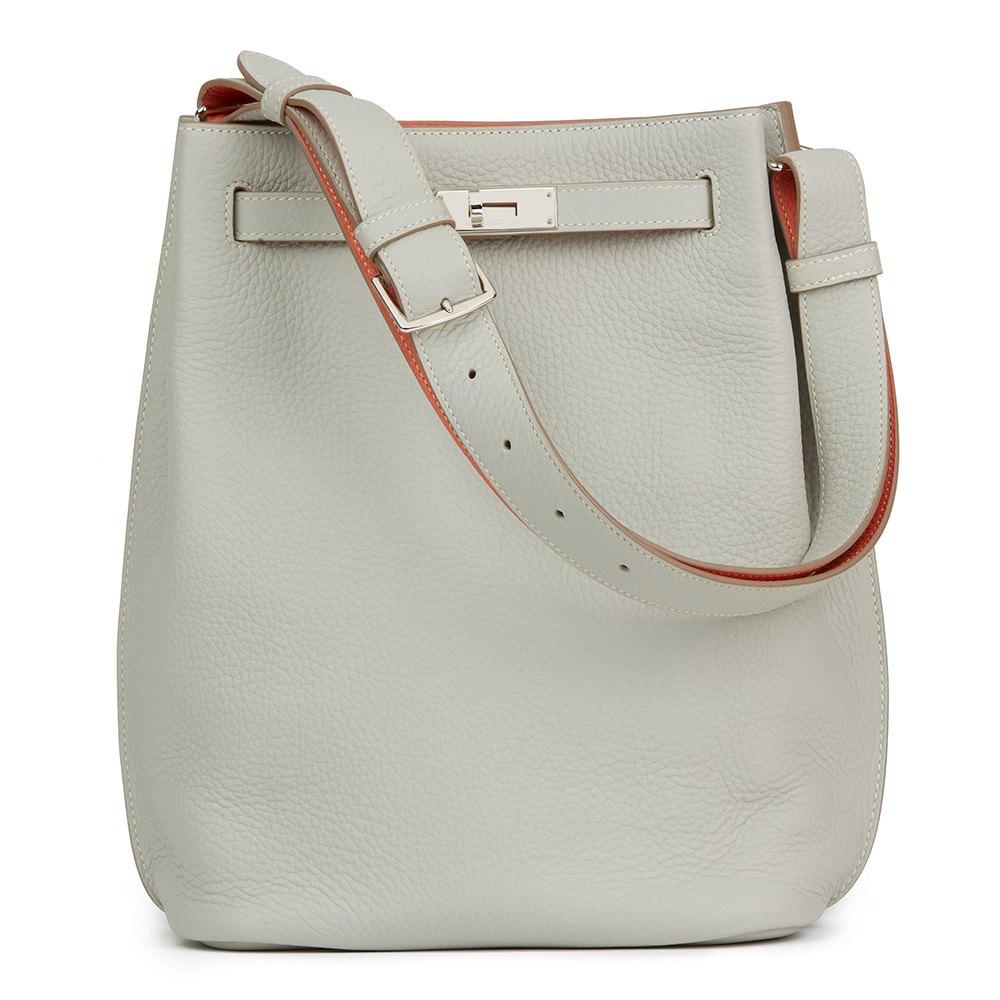 a774f2d5ea03 Hermès Gris Perle   Crevette Clemence Leather Eclat So Kelly 22cm