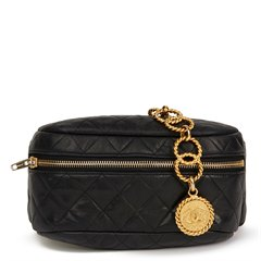 Chanel Black Quilted Lambskin Vintage Medallion Belt Bag