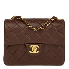 Chanel Chocolate Brown Quilted Lambskin Vintage Mini Flap Bag