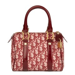 Christian Dior Red Monogram Canvas Boston 20cm