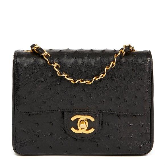 Chanel Black Ostrich Leather Vintage Mini Flap Bag