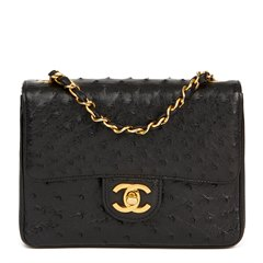 Chanel Black Ostrich Leather Vintage Mini Flap Bag