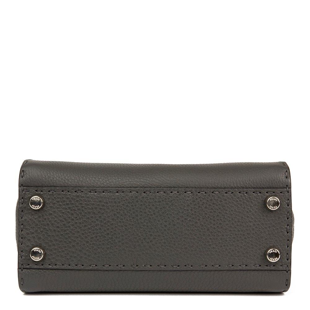 1fac0d10a3 Fendi Asphalt Grey Roman Leather Selleria Mini Peekaboo
