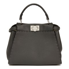 Fendi Asphalt Grey Roman Leather Selleria Mini Peekaboo