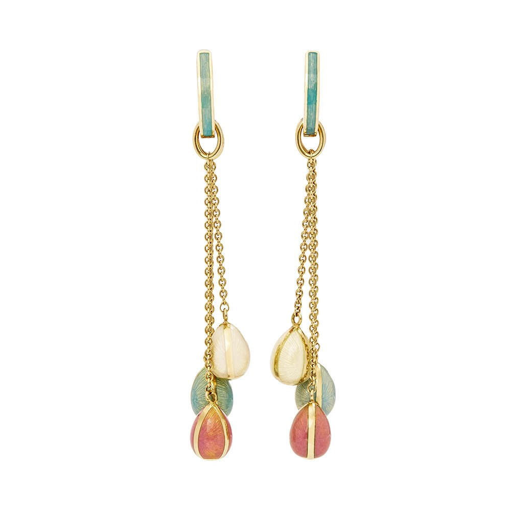 Fabergé 18k Yellow Gold Enamel Egg Drop Earrings
