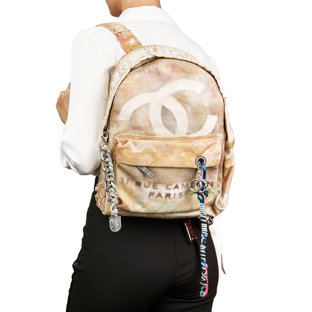 Chanel Beige Painted Canvas Medium Graffiti Backpack 093d4a4fc95
