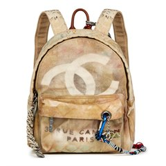 Chanel Beige Painted Canvas Medium Graffiti Backpack