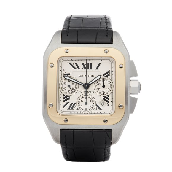 Cartier Santos 100 XL Chronograph Stainless Steel & 18K Yellow Gold - W20091X7