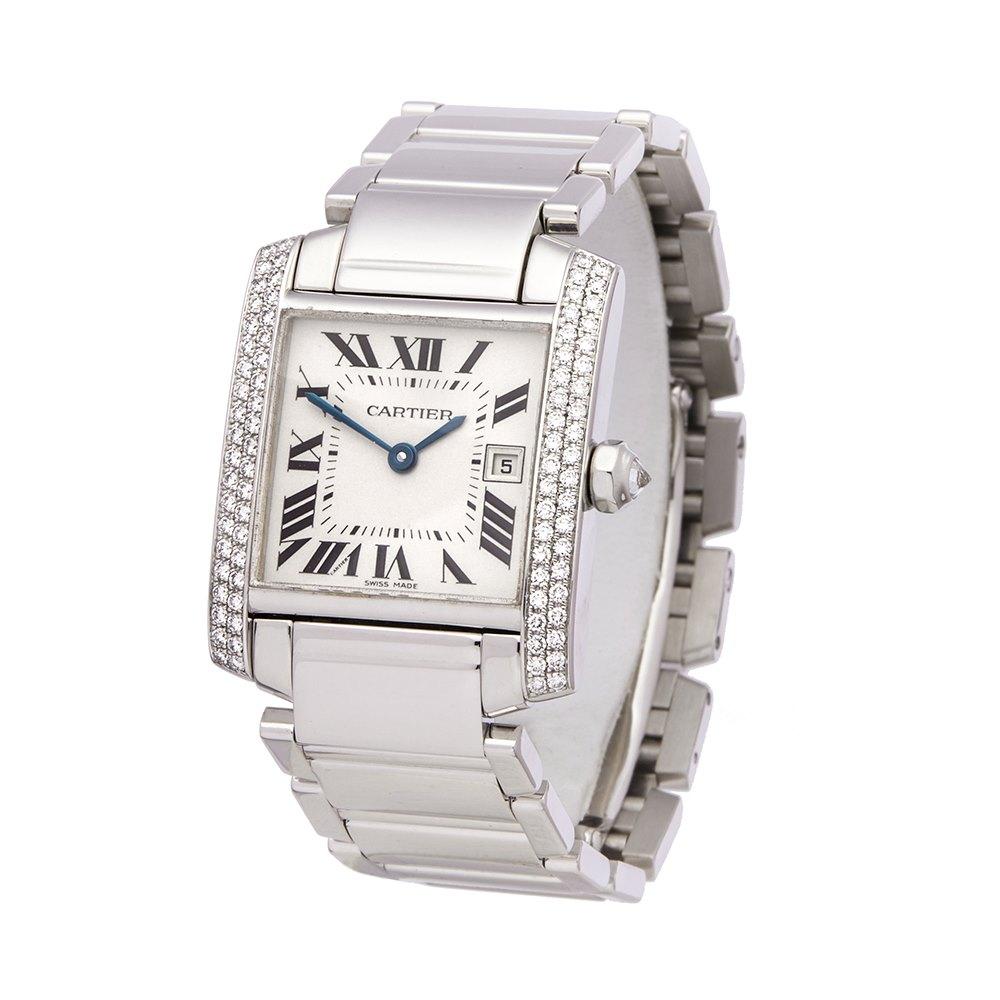 Cartier Tank Francaise Diamond 18k White Gold WE1018S3 or 2491