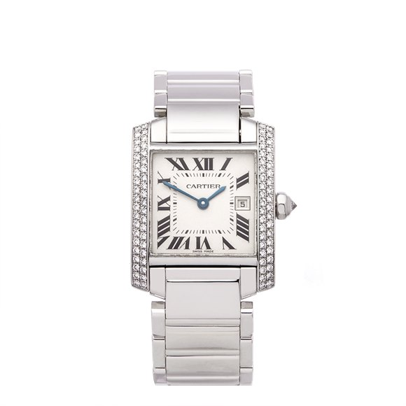 Cartier Tank Francaise Diamond 18k White Gold - WE1018S3 or 2491