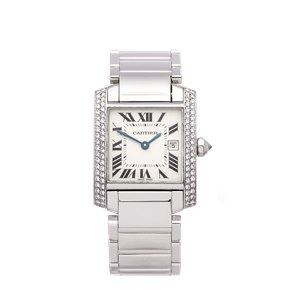 Cartier Tank Francaise Diamond 18k White Gold - WE1018S3 or 2491