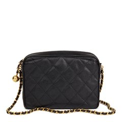 Chanel Chanel Black Quilted Caviar Leather Vintage Camera Bag