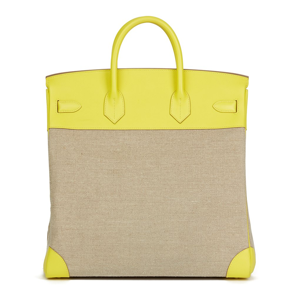 2e91e968f5 Hermès Lime Evercolour Leather   Ficelle Toile Birkin 40cm HAC