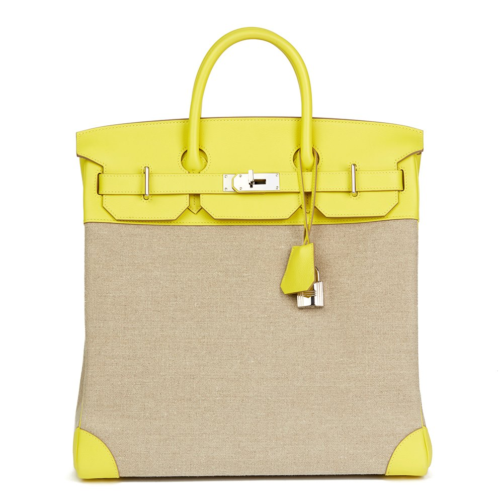 Hermès Lime Evercolour Leather & Ficelle Toile Birkin 40cm HAC