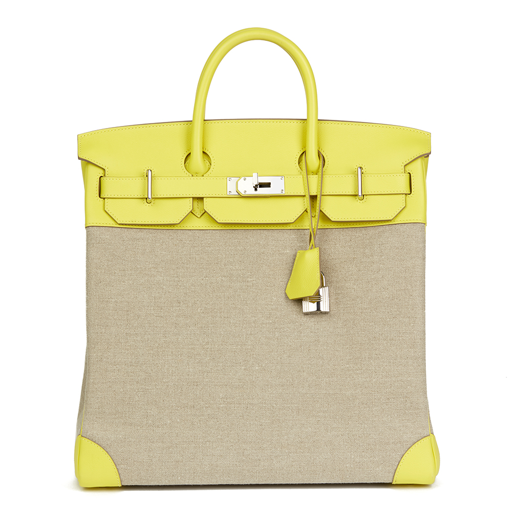 2892ac83be6d0 HERMÈS LIME EVERCOLOUR LEATHER   FICELLE TOILE BIRKIN 40CM HAC ...