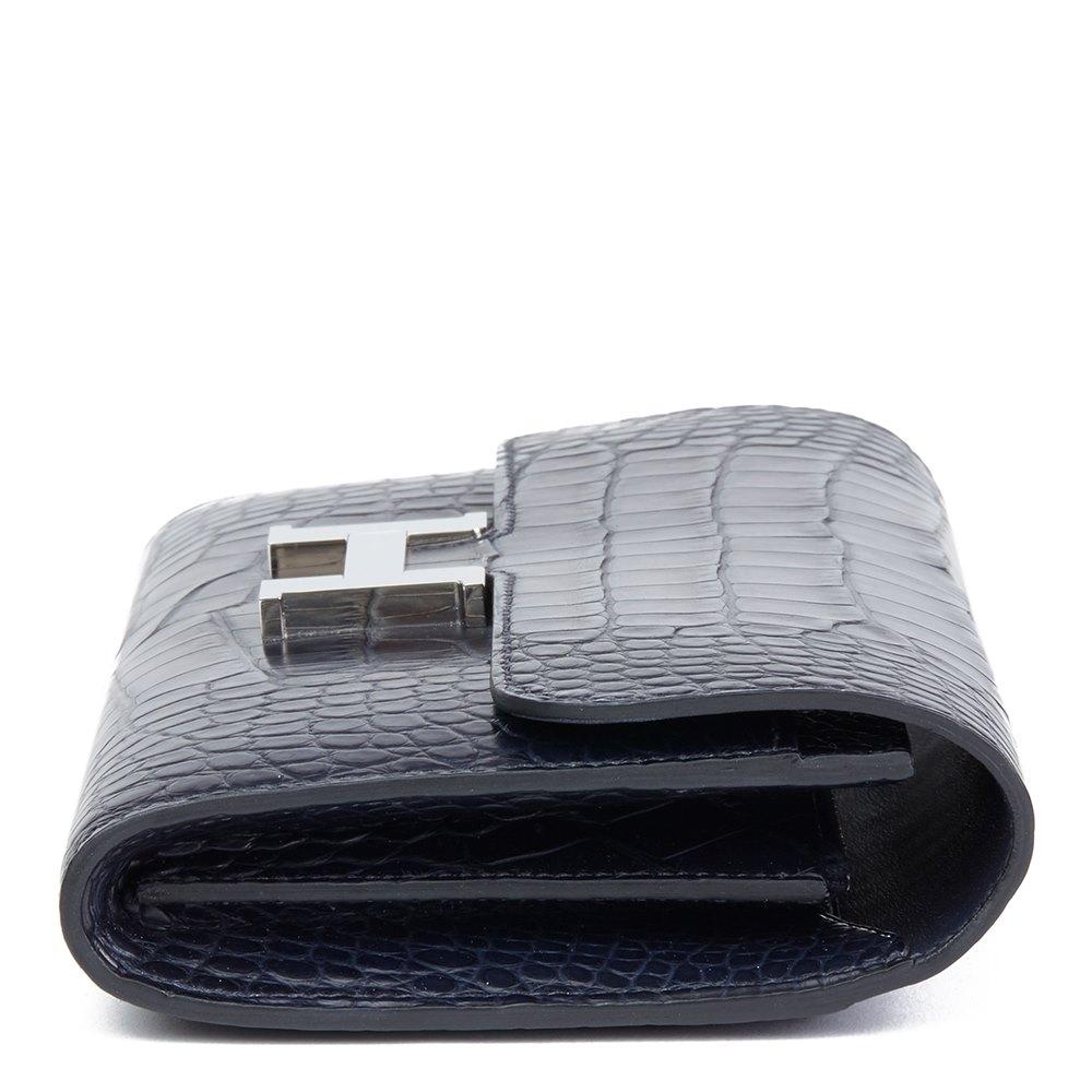 Hermès Blue Nuit Matte Mississippiensis Alligator Leather Constance Long Wallet