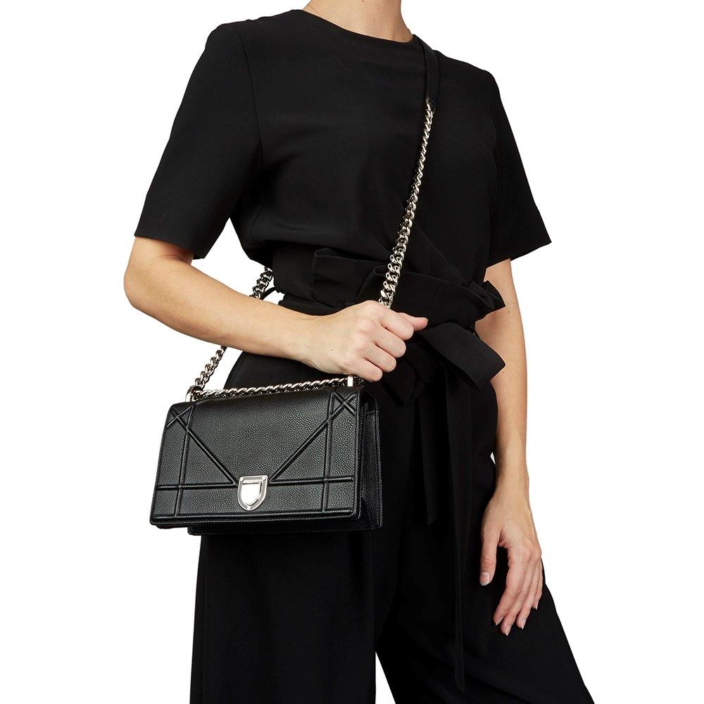 514fab7b18 Black Grained Calfskin Leather Small Diorama Flap Bag