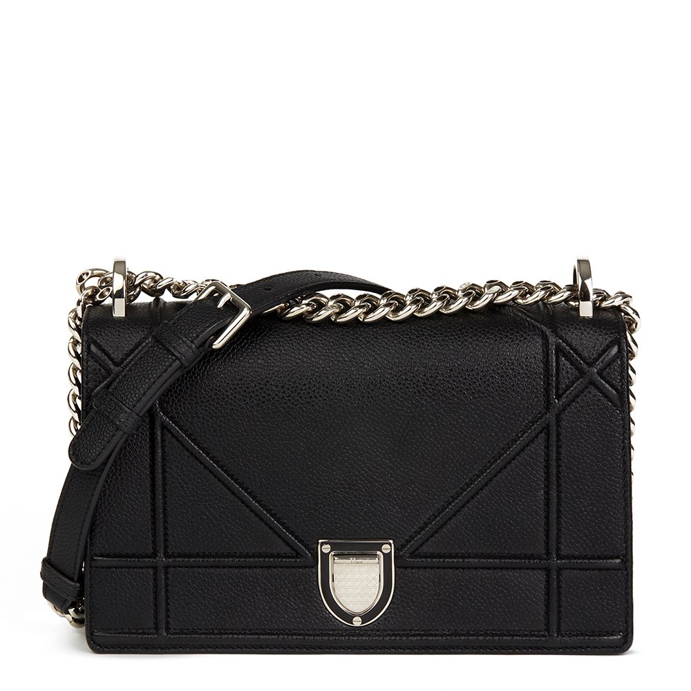 4570c9ab2278 Christian Dior Black Grained Calfskin Leather Small Diorama Flap Bag