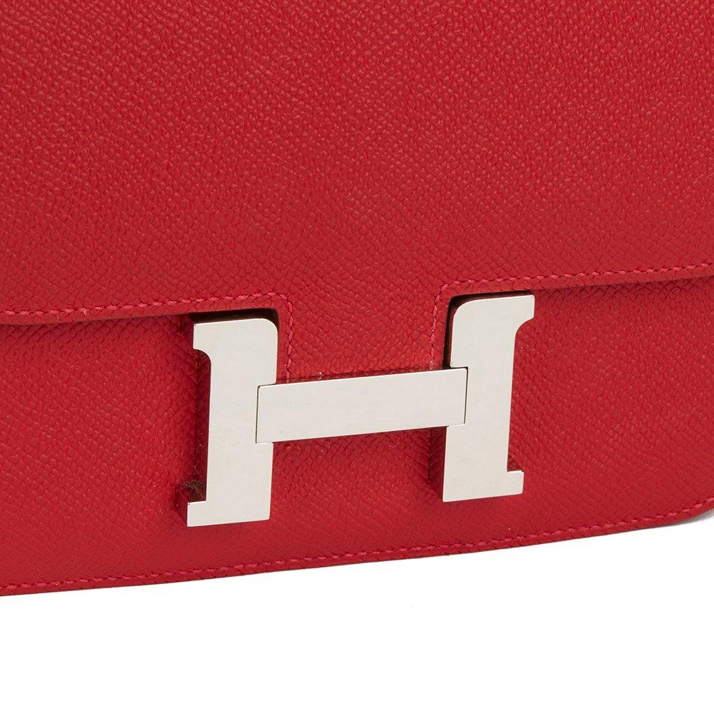 Hermès Rouge Casaque Epsom Leather Constance 18