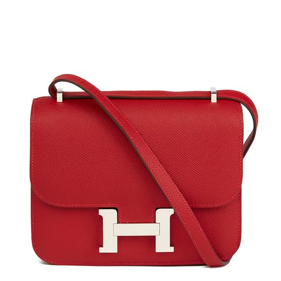 Hermès Rouge Casaque Epsom Leather Constance 18