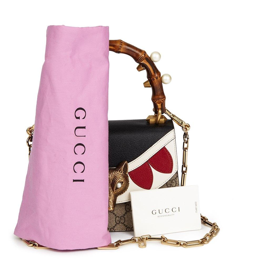 f34f23437db Gucci GG Supreme Coated Canvas & Blue, White Red Calfskin Leather Fox  Broche Mini Bamboo