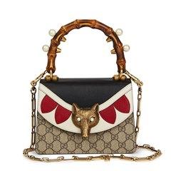 Gucci GG Supreme Coated Canvas & Blue, White Red Calfskin Leather Fox Broche Mini Bamboo Top Handle