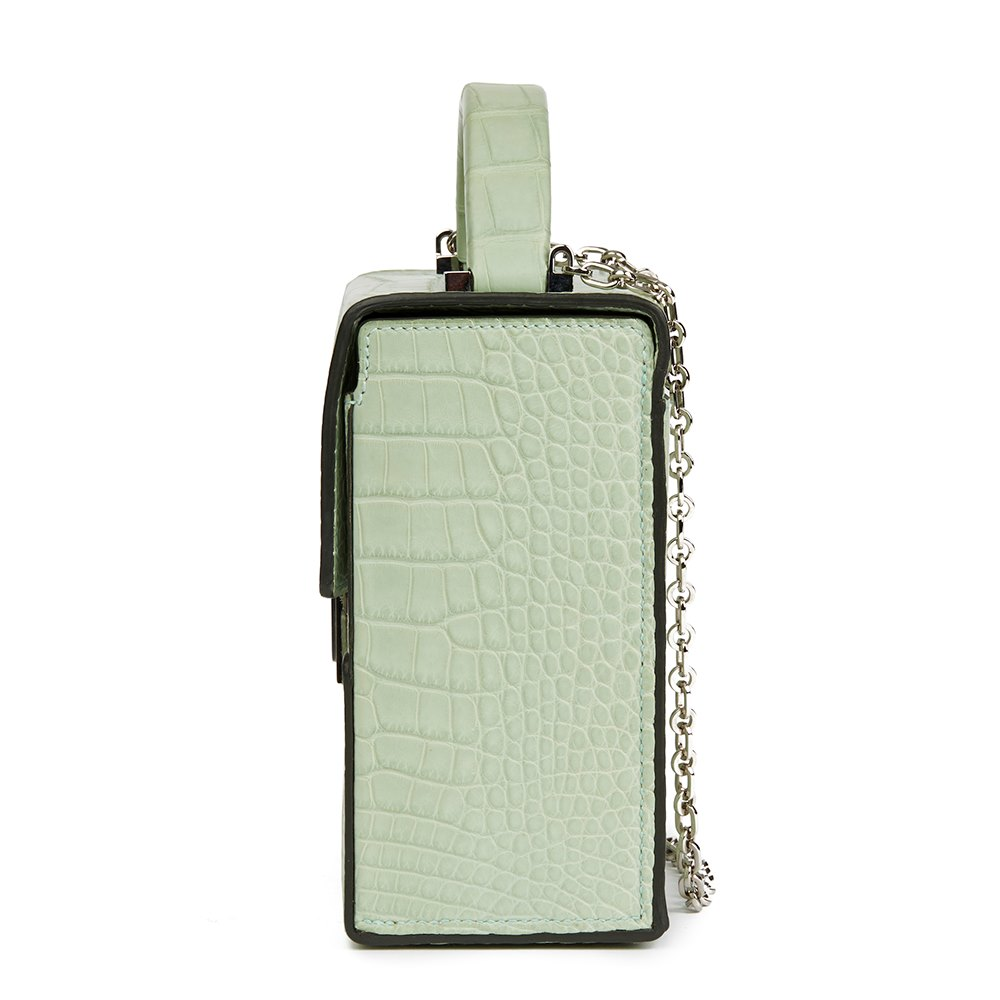 e4e1c4e238e8 Hermès Vert D eau Matte Mississippiensis Alligator Leather Cinhetic Top  Handle