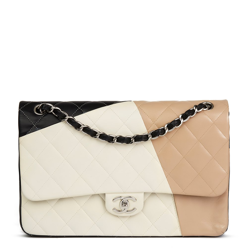 4fcb263db74591 Chanel Black, Beige & Taupe Quilted Lambskin Tri Colour Jumbo Classic  Double Flap