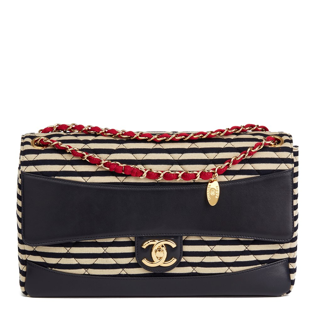 1fb9dadcbd1 Chanel Striped Quilted Jersey Fabric & Navy Lambskin Coco Sailor Jumbo  Classic Single Flap Bag
