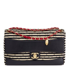 Chanel Striped Quilted Jersey Fabric & Navy Lambskin Coco Sailor Jumbo Classic Single Flap Bag