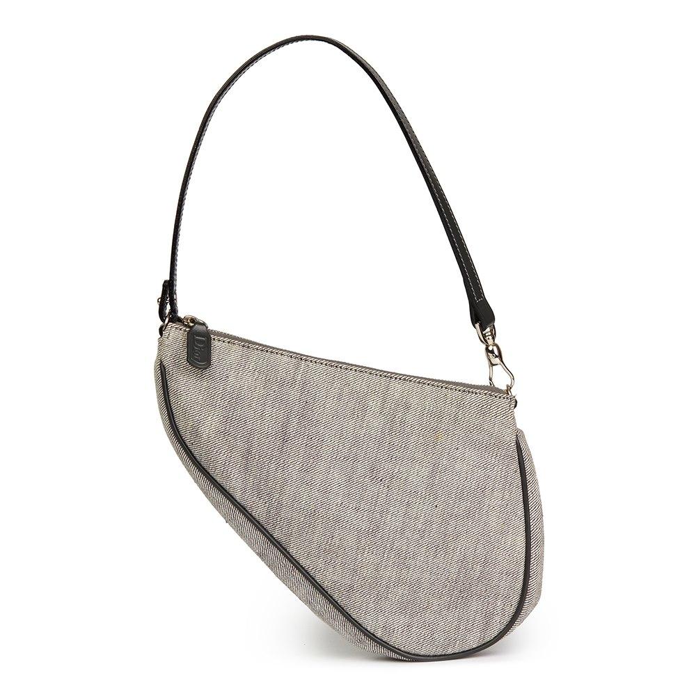 Christian Dior Grey Denim Saddle Pouch