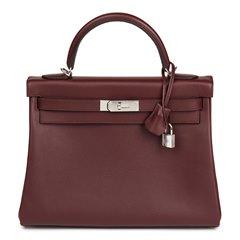 Hermès Bordeaux Evercolour Leather Kelly 32cm Retourne