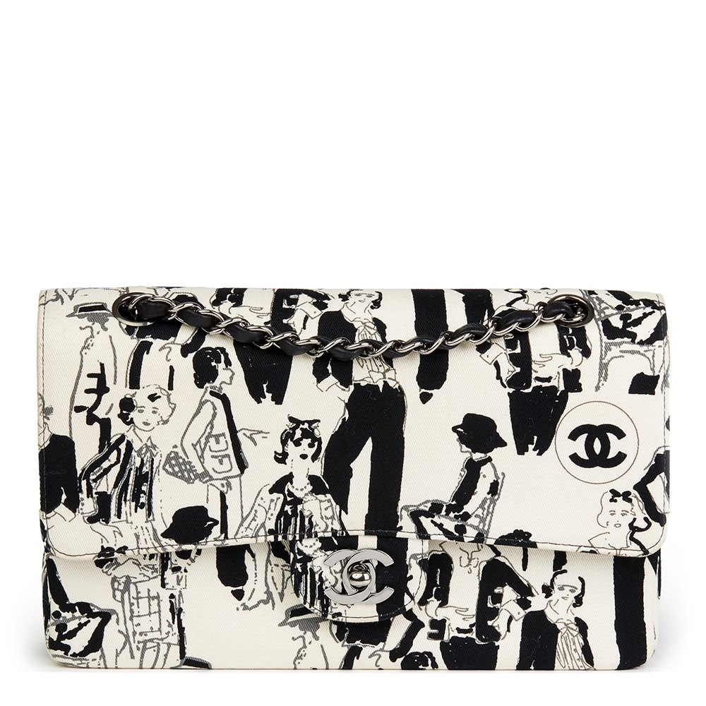 5a46034ad88b Chanel Black   White Printed Fabric Karl Lagerfeld Sketches Medium Classic  Double Flap Bag