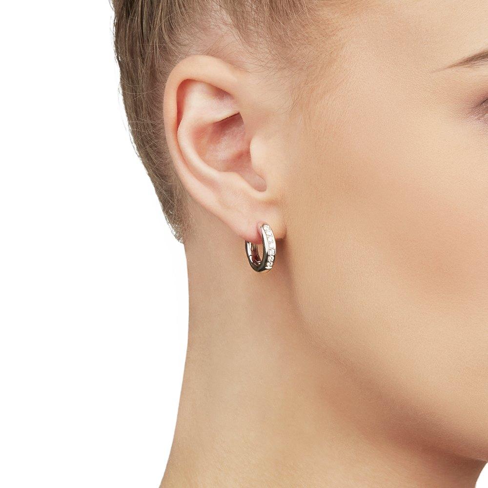 David Morris 18k White Gold Diamond Signature Hoop Earrings