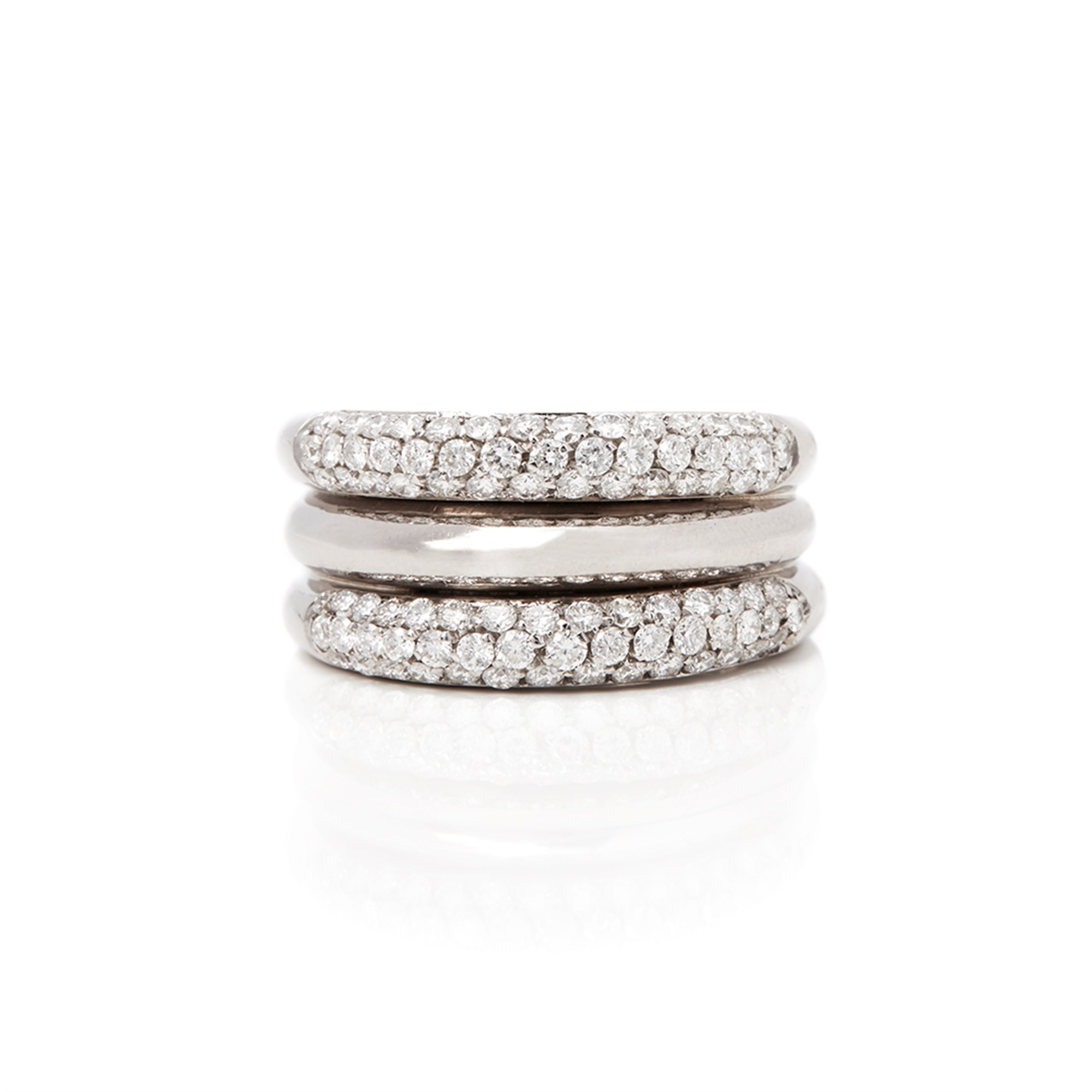 David Morris 18k White Gold Diamond Signature Band