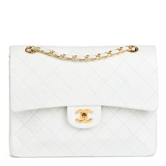 Chanel White Quilted Lambskin Vintage Medium Tall Classic Double Flap Bag