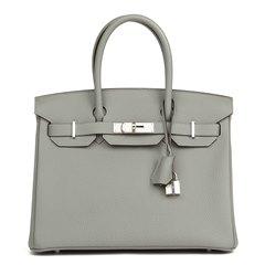 Hermès Gris Mouette Togo Leather Birkin 30cm