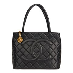 Chanel Black Quilted Lambskin Leather Classic Gold Medallion Tote